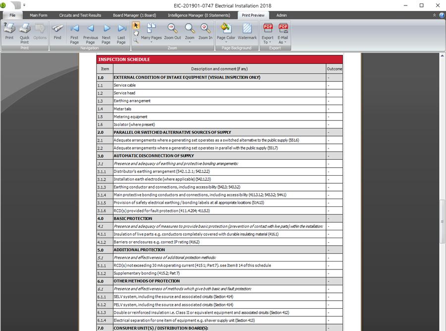 Schedule item subheadings