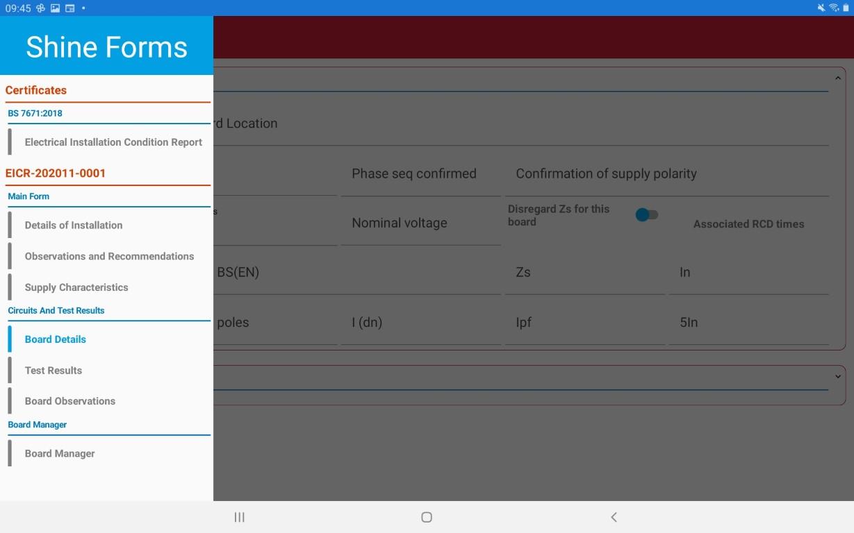Navigation in the tablet app